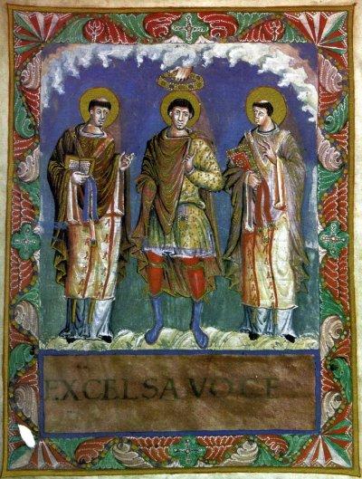 Миниатюра из сакраментария Карла Лысого: Папа Геласий I (слева), император Карл Великий (в центре) и Папа Григорий Великий (справа). Ок. 870 г., Французская национальная библиотека, Париж.